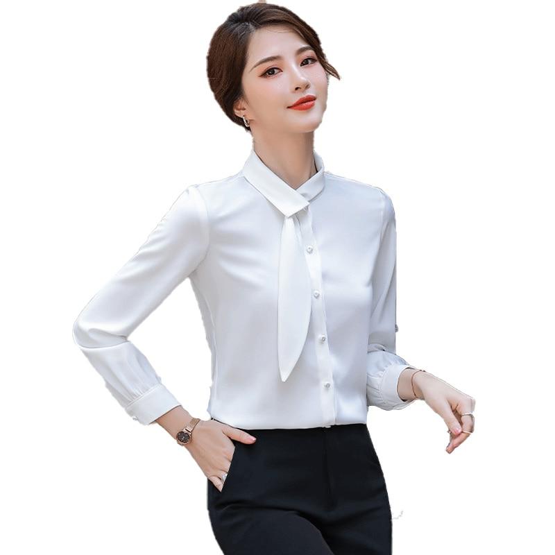 قميص شيفون أبيض حريمي تصميم راقي تحسس 2021 ربيع جديد غير رسمي موضة مزاجه ساتان كم طويل قميص