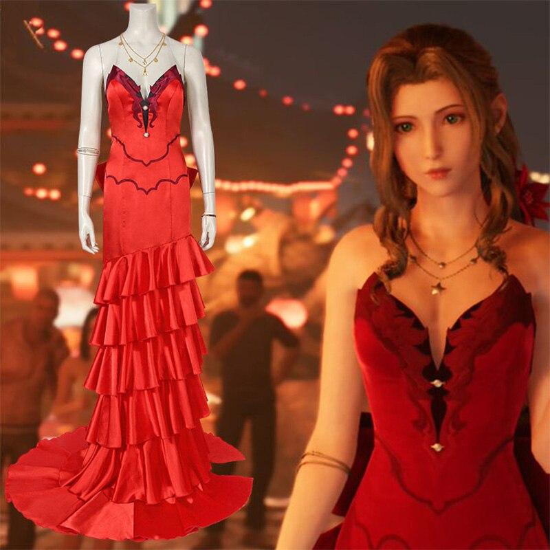 Final fantasy vii aerith gainsborough cosplay traje de final fantasy vii, mesmo traje, meninas adultas carnaval de halloween
