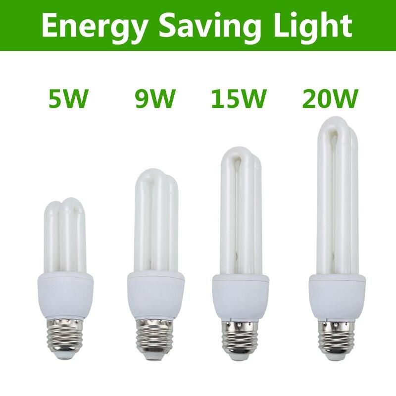 Bombilla ahorro de energía 5W 9W 11W 15W 20W E27 tornillo 2U en forma de bombillas para el hogar CFL bombilla cfl luz para interior