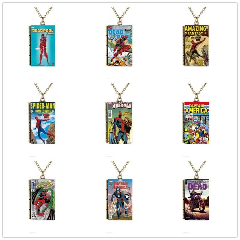 Caricatura en miniatura Walking Dead Marvel Charm superhéroe Superman Deadpool Batman Capitán América cubierta pequeño libro colgante collar