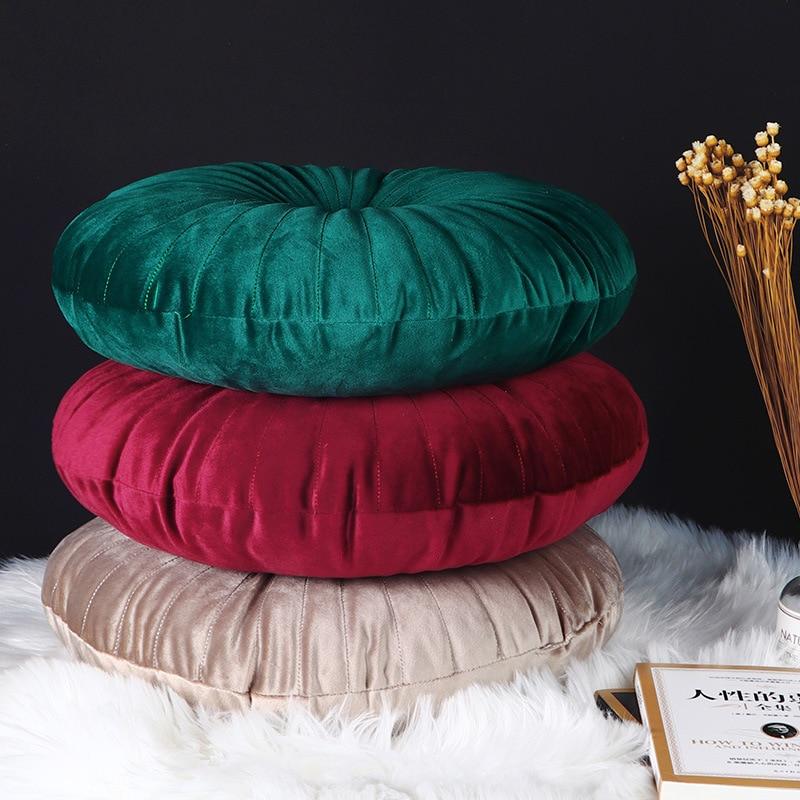 Ins Luxury Style Velvet Pleated Round Pumpkin Pillow Couch Cushion Floor Pillow Decor For Home Car Office Chair Sofa Cushion