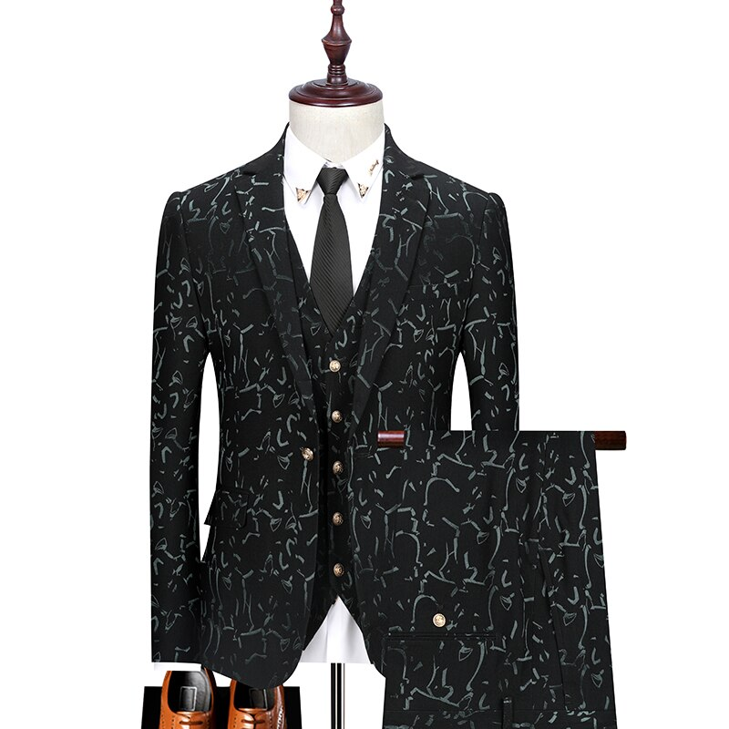 (Jacket+vest+pants) clothing Men's double breasted business Blazers/Male slim printing casual three-piece suit/groom Dress 3XL
