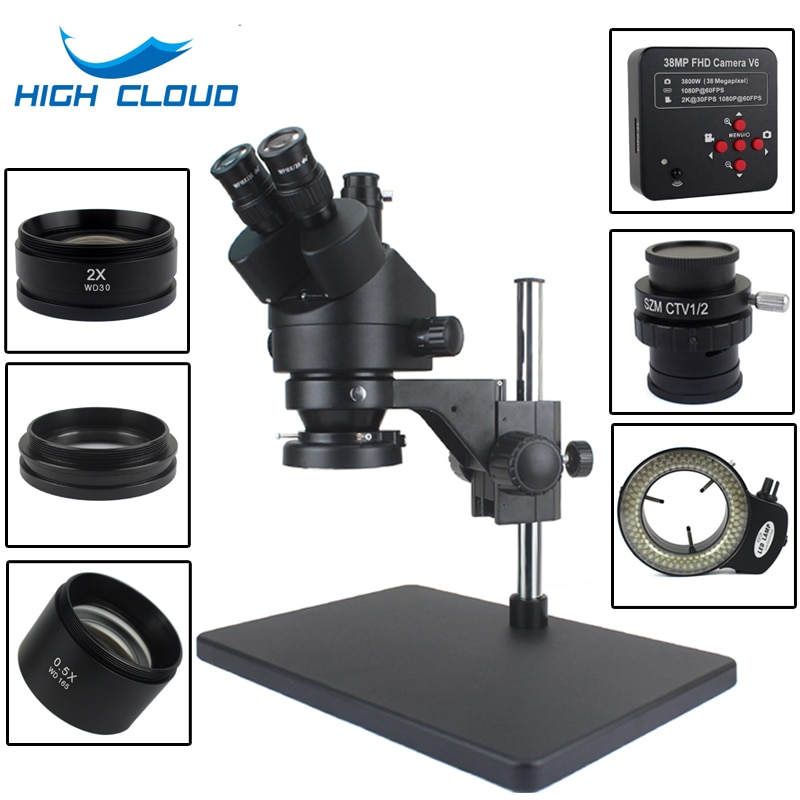 Microscopio Digital USB de 38MP con HDMI, cámara 3,5x-90X, Microscopio Trinocular Focal...