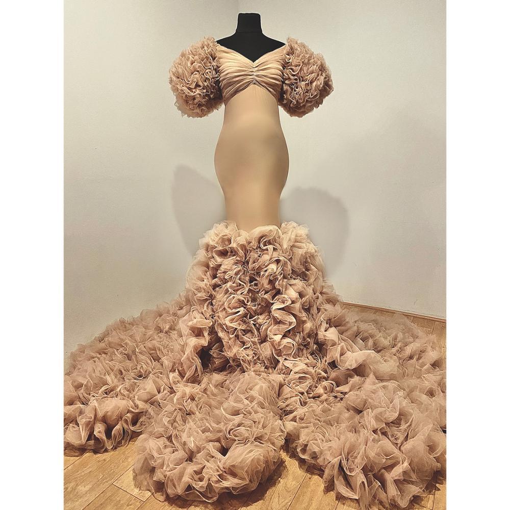 فستان سهرة حوامل من التول ، قفطان ، مصنوع حسب الطلب ، لون كاكي ، مع انتفاضات
