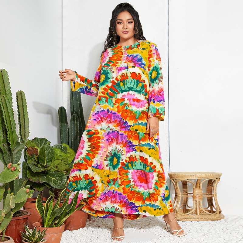Plus Size Vintage Autumn Elegant Printed Sundress Casual Long Sleeve Vestido Ladies Robe 2021 ZANZEA Women Long Ruffle Dresses