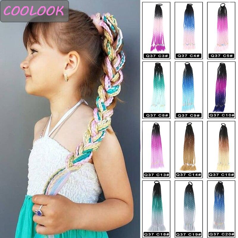 Конскые хвостики Радуга, парик, заколки, заколки для волос, трессы, косичка с канатная Резиновая лента для волос Синтетический Хвостик Косы волосы для наращивания розовый Kanekalon