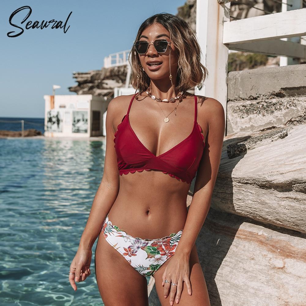 Conjuntos de biquíni borda scalloped impresso parte inferior 2020 sexy rendas até maiô duas peças roupa de banho feminina praia fatos de banho biquini