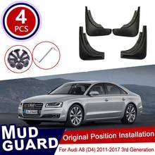 4Pcs Set für Audi A8 D4 2011 ~ 2017 Auto Schlamm Flaps Vorne Kotflügel Hinten Splash Guards Kotflügel Schmutzfänger klappe 2012 2013 2014 2015 2016