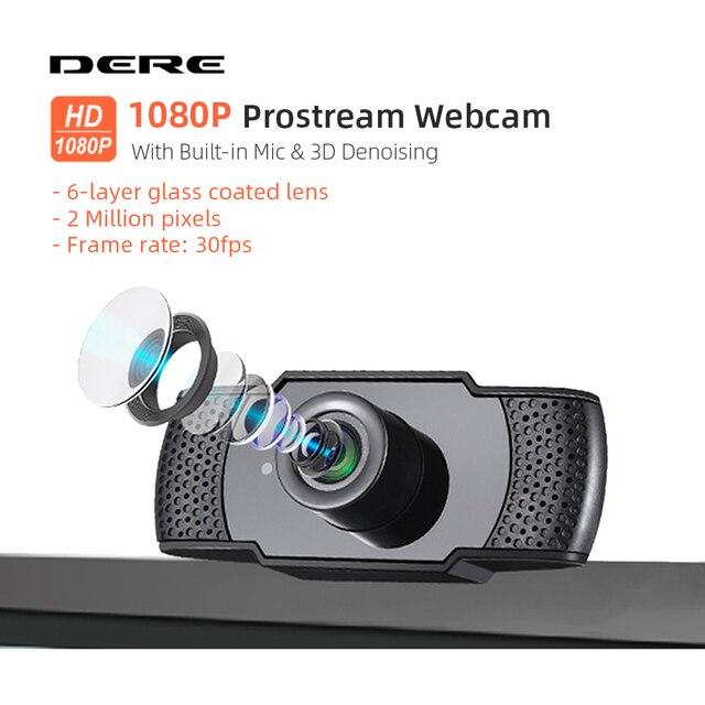 DERE X22 FHD Webcam 1080P Mini USB Web Cam Mini Camera Video Conference Microphone Focus for Rotatable Desktop Computer Laptop