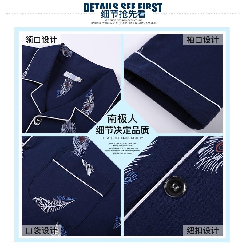 Nanjiren pijamas masculinos fino verão manga longa primavera, outono e inverno algodão juventude homewear terno