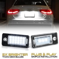 2pcs license plate light for audi a3 8p s3 a6 c6 s6 a4 b6 b7 s4 q7 4l a8 s8 led light for car license number plate lamps car hot