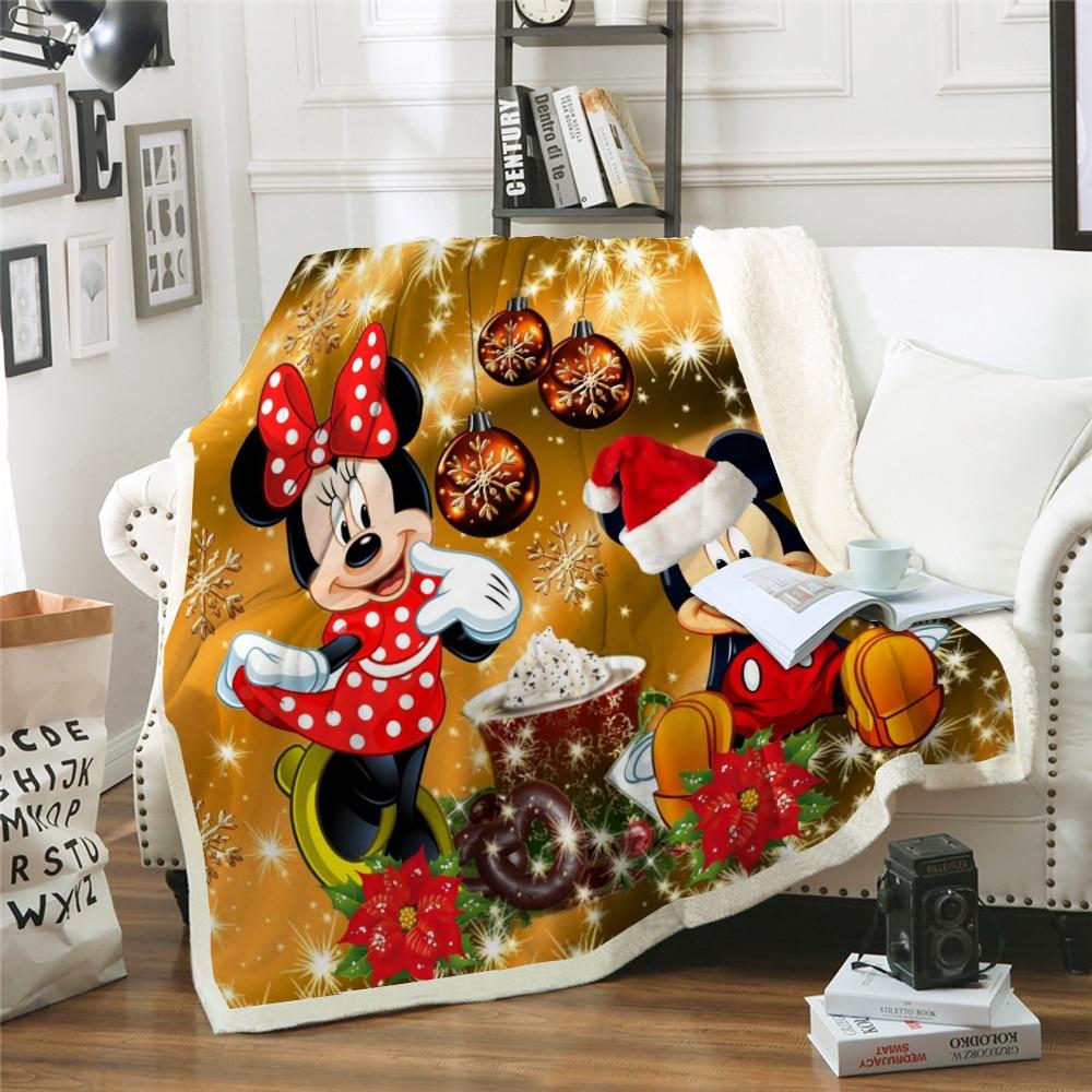 Manta navideña de Mickey, colcha de Disney, ropa de cama para niños, regalo de Navidad 2020