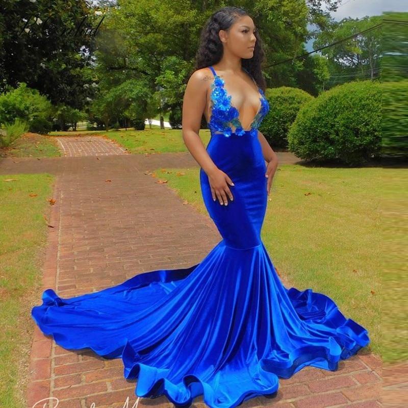 PEORCHID 2020 Afrikanische Prom Kleider Meerjungfrau Royal Blue Für wWomen Tiefe V Neck Mermaid Floral Evning Kleid Vestido Gala Mujer