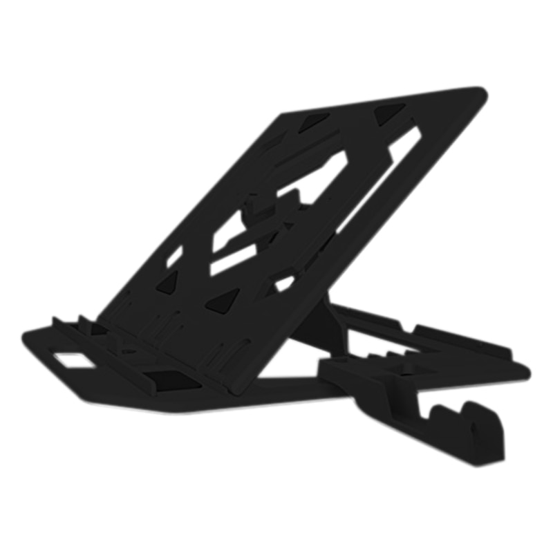 Soporte de ajuste de altura para portátil soporte de almohadilla de enfriamiento inferior giratorio de 360 grados con soporte de teléfono (negro)