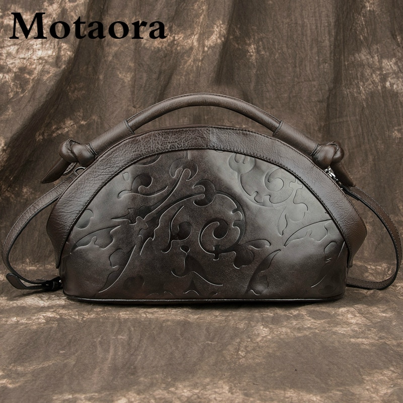 MOTAORA-حقيبة يد جلدية أصلية ريترو للنساء ، حقيبة كتف ، صناعة يدوية ، فاخرة ، عتيقة ، منقوشة ، مجموعة جديدة