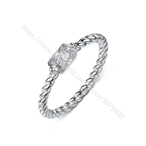 white gold-Eletroplated cubic zircon Rings Thin rectangle Ring Simple CZ Stackable Skinny Ring Anniversary gift for girls Women