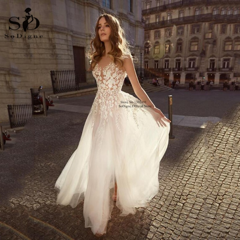 Sexy V-neck A Line Lace Appliques Wedding Dresses Backless Tulle Wedding Gowns Formal Bride Dress Boho 2020 vestidos de novia ha084 eightale wedding dresses boho v neck appliques lace buttons ball gown wedding gowns bride dress vestidos de noiva