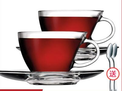 Copo de Café Copo com Pires Colher de Chá Turquia Importado Transparência Vidro Conjunto Criativo Doméstico Europeu Italiano Capccino 2 Peças