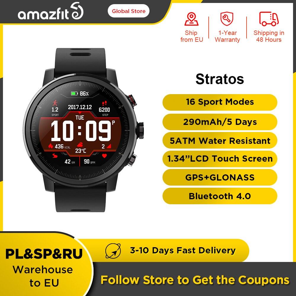 Amazfit ستراتوس ساعة ذكية لتحديد المواقع ساعة ذكية للرجال السعرات الحرارية العد 50 متر مقاوم للماء بلوتوث متوافق للهاتف أندرويد iOS