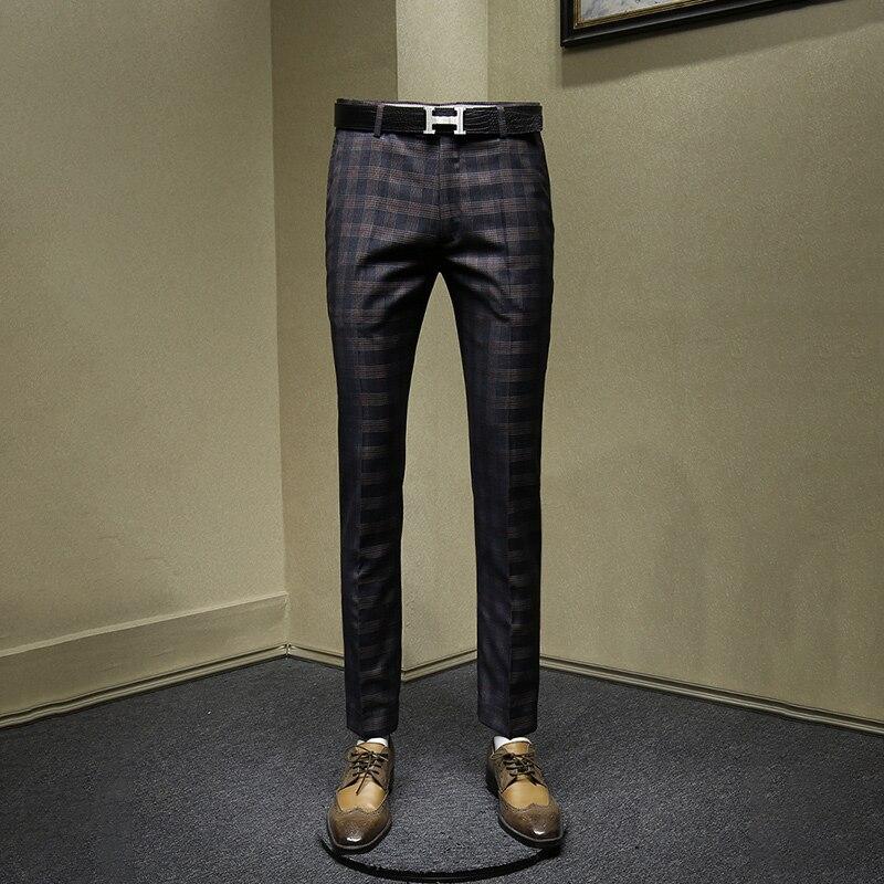 Pantalones de hombre slim style moda gris plaid hombre casual streetwear hombres pantalones otoño primavera negocios hombres ropa 30 36 Pantalones