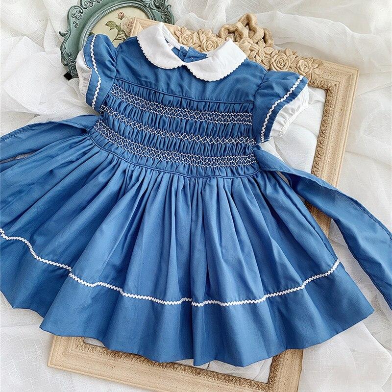 Verano niñas Baby Doll Vintage nuevo vestido azul para 1 2 3 años vestidos smocking vestido de manga corta princesa Bow vestido