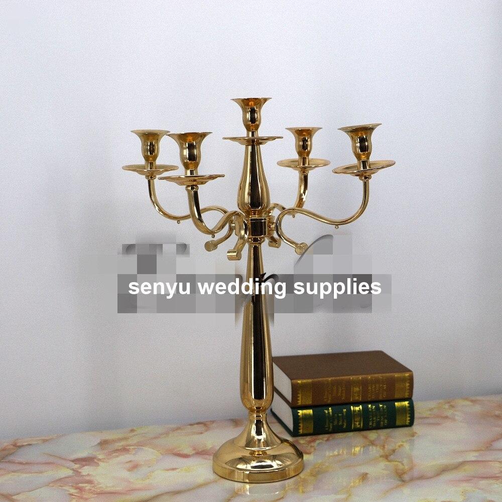 Candelabros de metal/candelabros para boda de oro alto con soporte para velas, centros de mesa para boda a la venta