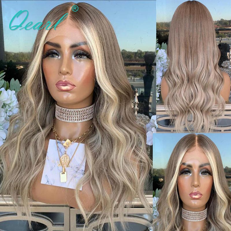 ASh Brown Blonde Ombre Lace Front Wig 13x4/13x6 Human Hair Wigs Body Wave Women Wig Transparent Pre plucked 150% Remy Hair Qearl