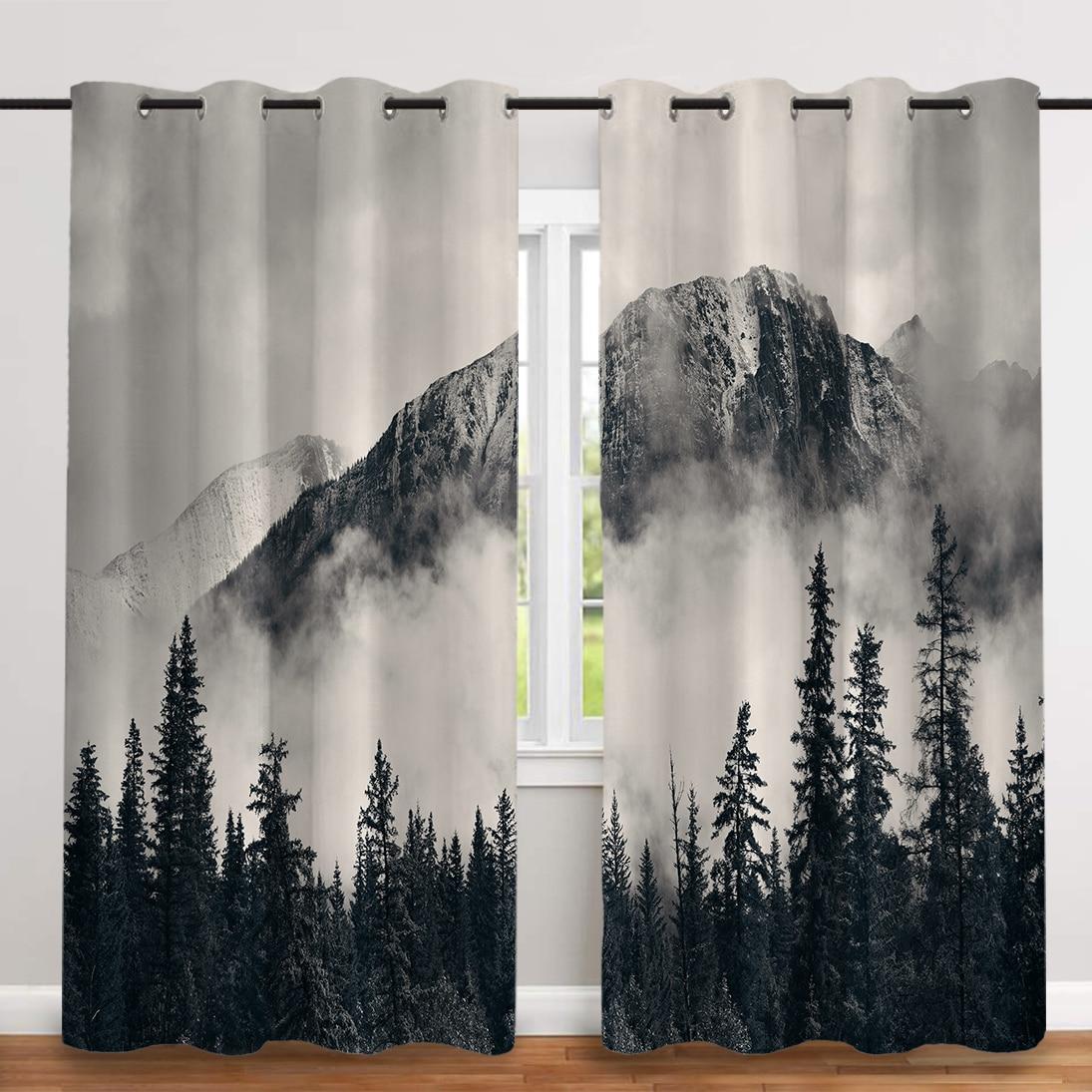 2 قطعة/المجموعة ضبابي الغابات الرقمية الطباعة سميكة القماش الستار الشمال نافذة تعتيم الستائر لغرفة النوم و غرفة المعيشة