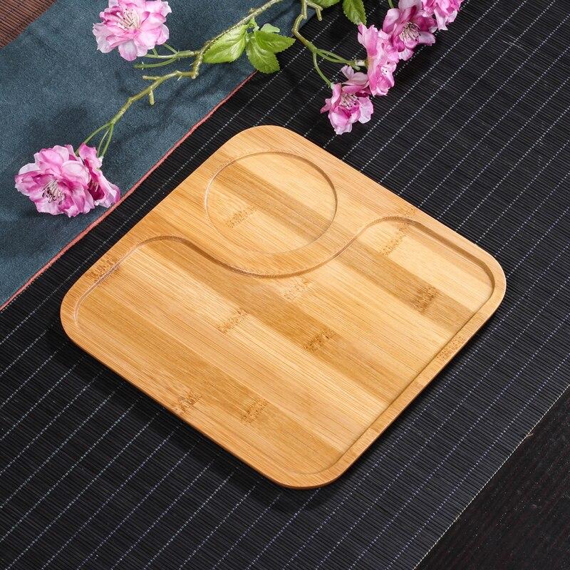 [GRANDNESS] Juego de té y café Natural bambú té bandeja bambú cuadrado Puer té tablero de mesa bambú Gongfu té bandeja 20.5X20.5cm