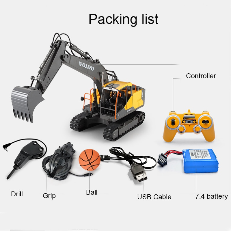 2.4G 3in1 Alloy RC Excavator  E568 1:16 Alloy 17ch Big RC Trucks Simulation Excavator Remote Control 3-Type Engineer Vehicle Toy