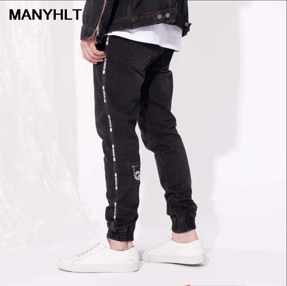 Новинка, мужская одежда в европейском и американском стиле, мужские черные джинсы, джинсы с эластичным поясом, узкие модные джинсы