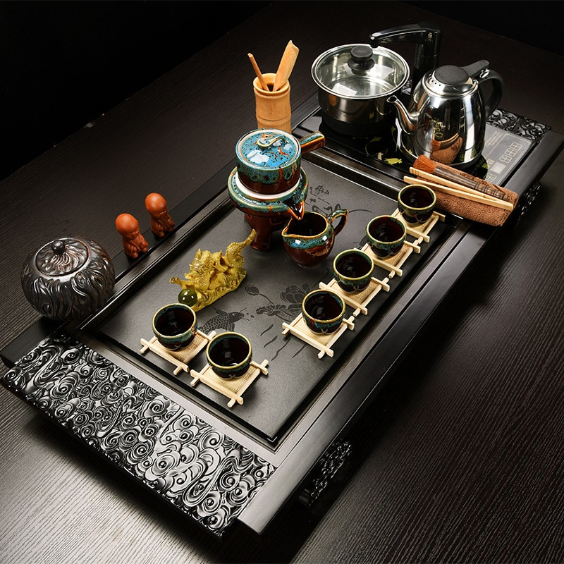 1 set Full set teapot cup Tea Tray kettle High Quality Chinese Solid Tea Tray Household Tea Board Chahai / Tea table All produc