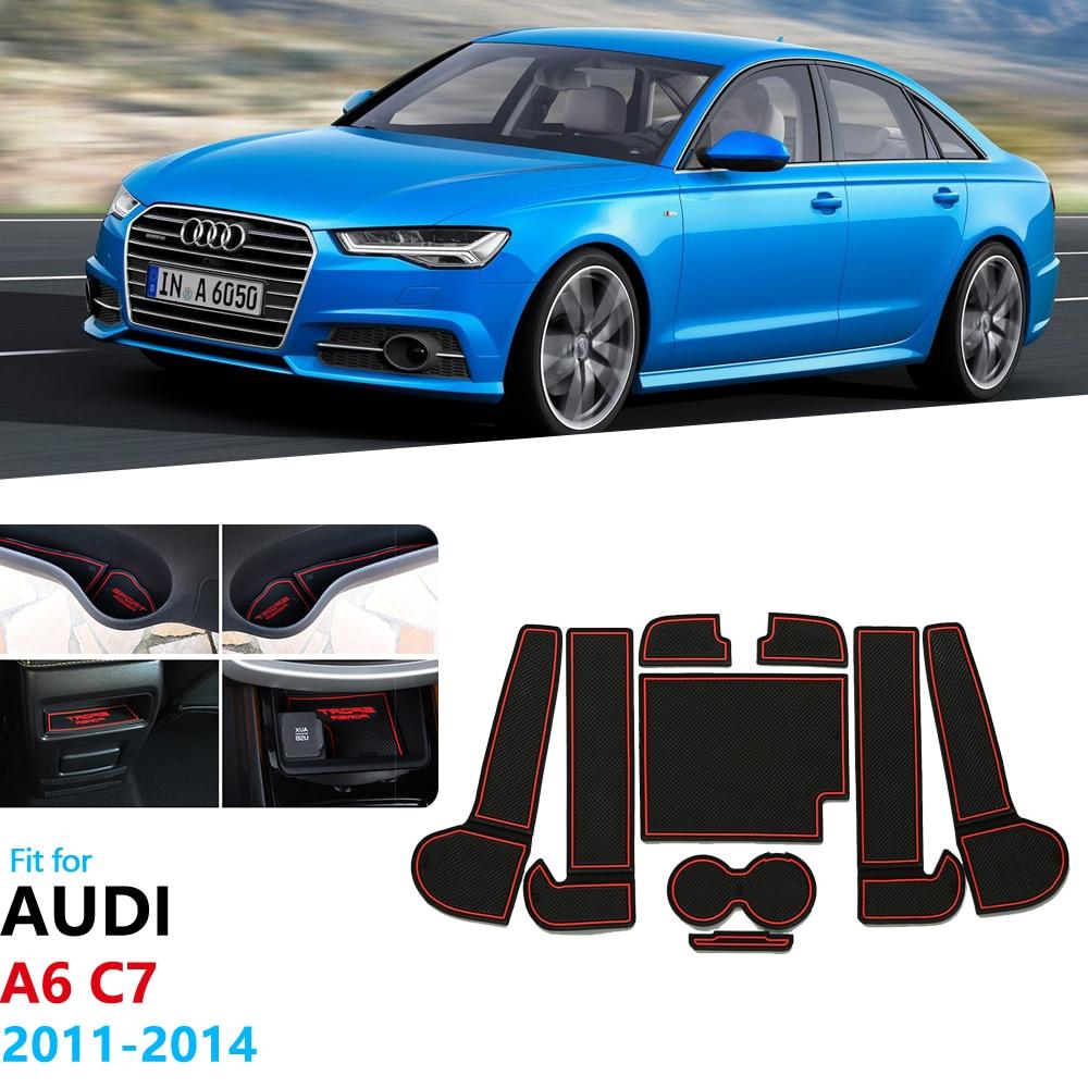 Para Audi A6 C7 2011 2012 2013 2014 A6 4G RS6 S6 S línea RS 6 antideslizante de goma de la ranura de la puerta tapete Coaster accesorios de coche pegatinas
