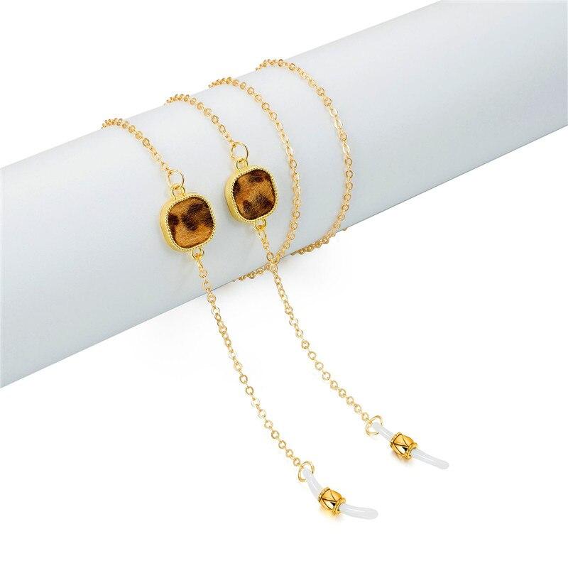 Cadena de eslabones plateada de oro con cuentas de leopardo cadenas para anteojos para cordón para gafas de lectura correa de gafas soporte para cuello accesorios de banda