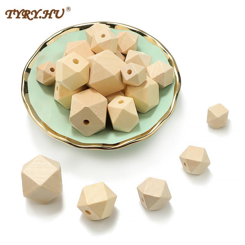TYRY.HU 14-25mm DIY Natural Wood Hexagon Beads Color Wooden Eco-Friendly Lead-Free Balls 10-100pcs