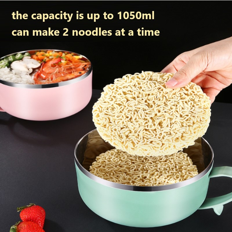Portable Lunch Bowl 304 Stainless Steel Lunch Box Instant Noodle Bowl With Lid Large Capacity Fast Food Storage Container cocina
