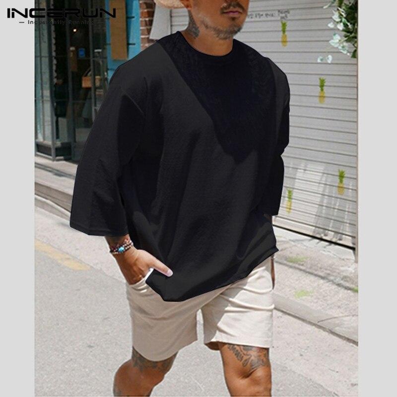 INCERUN Fashion Men Casual T Shirt Plain Cotton 3/4 Sleeve Crew Neck 2020 Baggy T-shirts Hombre Streetwear Camiseta Plus Size