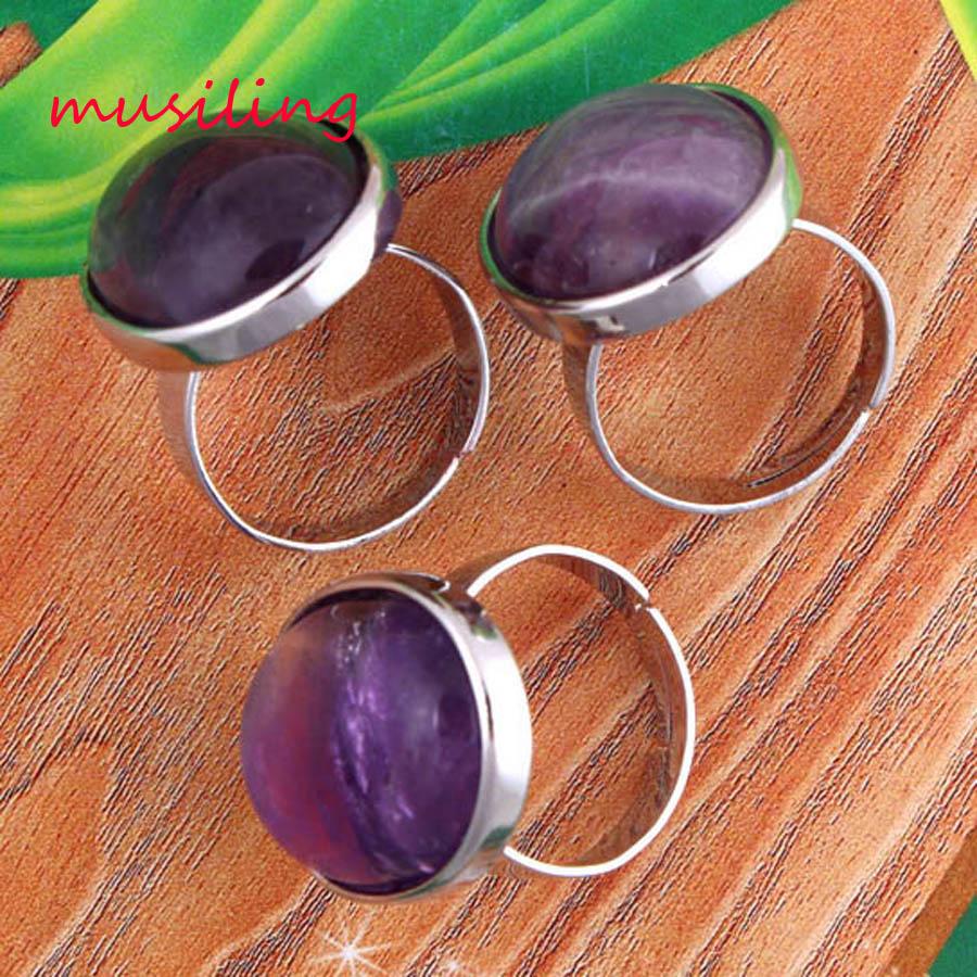 Abalorios ovalados cabujón anillo piedra gema Natural anillos ajustables accesorios joyería de moda plateada al por menor 1 Uds