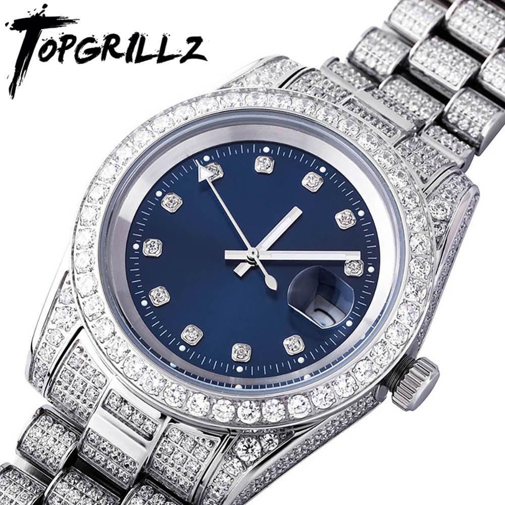 Inoxidável com Zircônia Topgrillz Iced Presidential Relógio Masculino Luxo 18k Ouro Branco Aço