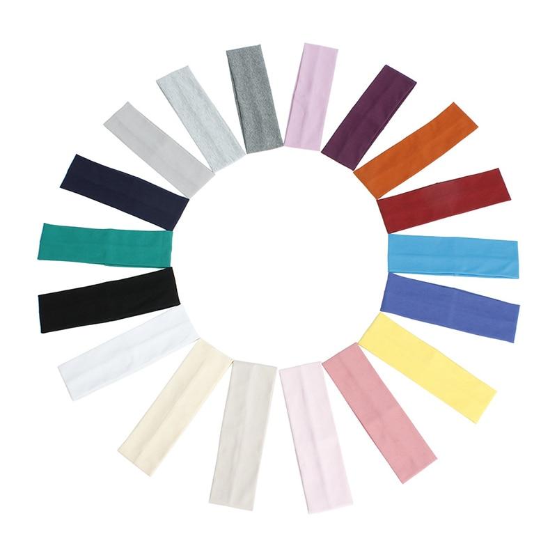 Hot SaleHair Accessories Solid Color Cotton Headband Wide Turban Elastic Hair Band Yoga Headband Outdoor Fitness Sport Sweatband elastic lacework wide sport headband