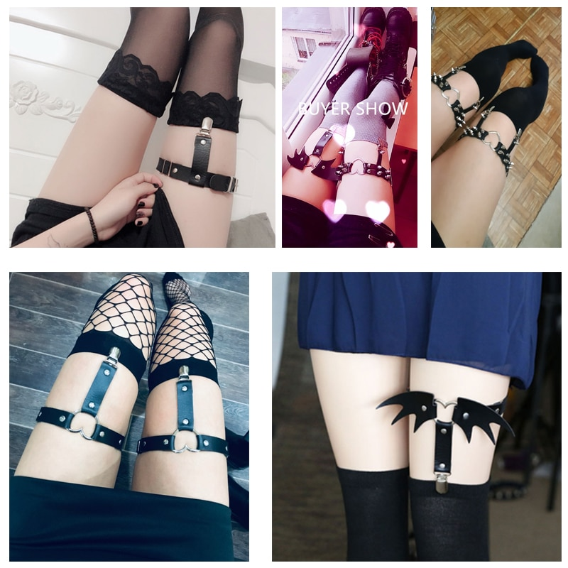 Newest Womens Sexy Elasticity Harness Heart Leg Chain Garter Belts Cosplay Spike High Quality Elastic Thigh Ring Garter