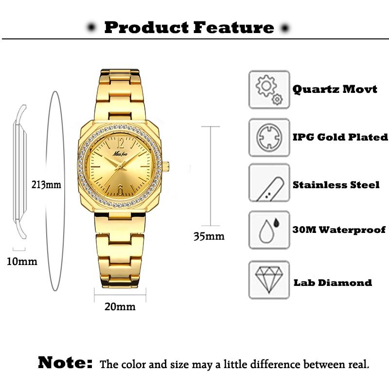 MISSFOX Women Watch Fashion Designer Famous Brand Gold Watches Bling Lady Diamond Stainless Steel Bracelet Quartz Clock New 2020 enlarge