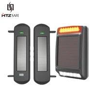 HTZSAFE     systeme dalarme solaire sans fil  800 metres de portee  100 metres de portee de capteur  sirene solaire et stroboscope bricolage pour la securite de la maison