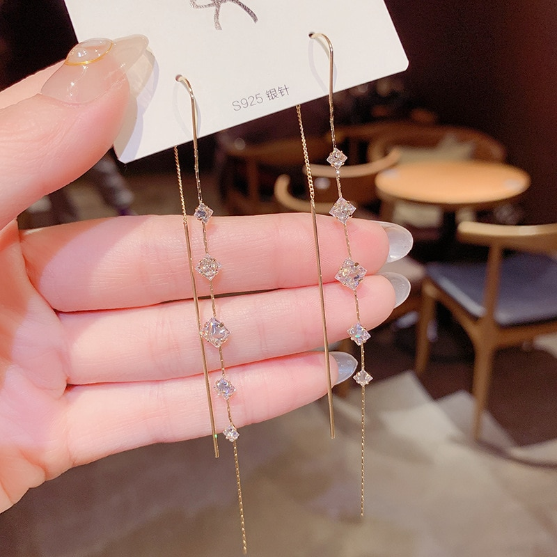 14K Real Gold Square Zircon Tassel  S925 Silver Needle Fashion Personality Stud Earrings for Women Daily Party Jewelry