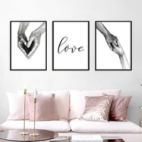 black white simple hand in hand lover canvas painting love couple love promise posters wall pictures for living room home decor