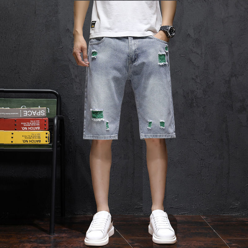 Ripped denim summer shorts male loose plus fat plus size trendy cropped breeches middle pants thin f