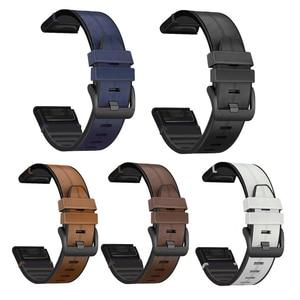 26mm QuickFit Silicone Leather Band For Garmin Tactix Delta Wrist Strap Correa ремешок Fenix 6X 5X Plus Watch band Accessories