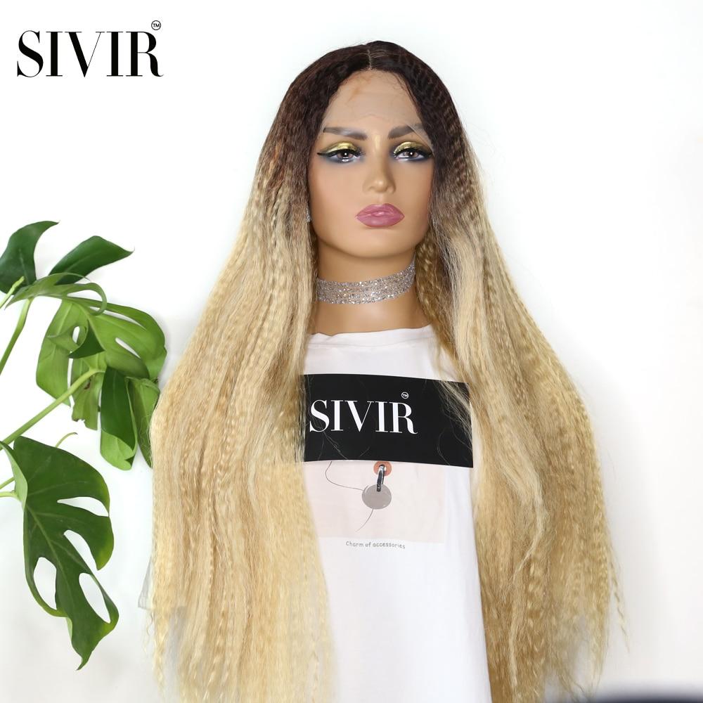 parte do meio longo kinky reta perucas sinteticas do laco do cabelo para as mulheres