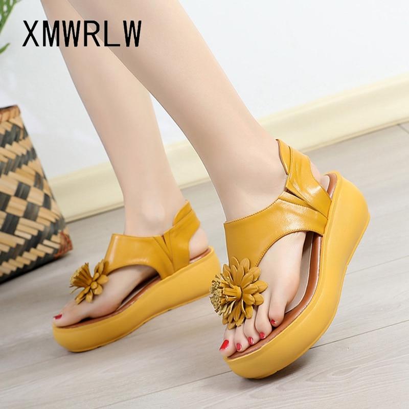XMWRLW-صندل نسائي بنعل سميك ، أحذية صيفية من الجلد الطبيعي ، صناعة يدوية ، 2020