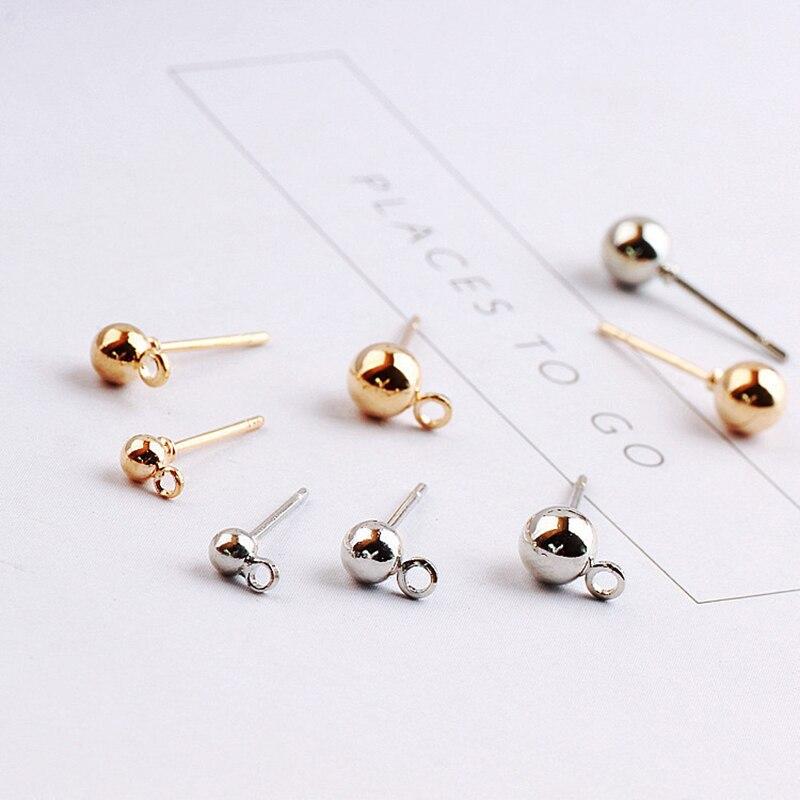20/50 sztuk 3mm 4mm 5mm okrągła kula 316 ze stali nierdzewnej złote kolczyki szpilki Ball igły kolczyki Stud dla DIY tworzenia biżuterii znalezienie